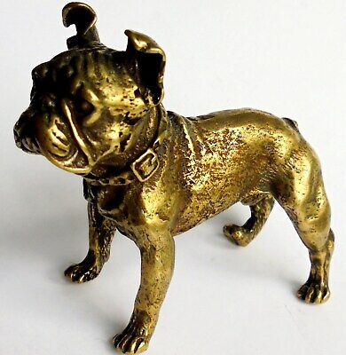Antiqueor  Vintage Very Heavy Solid Cast Bronze French Bulldog or Boston Terrier