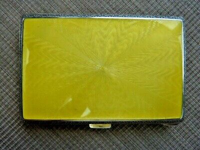 Antique England 925 Sterling Yellow Enamelled Ladies Ciggaret Case (58136)