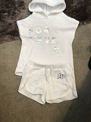 River Island New Girls Shorts Outfit White Hoody 3-4