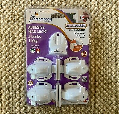 Dreambaby Adhesive Mag Lock 4 Locks 1 Key Babyproof Magnetic Lock Cabinets New