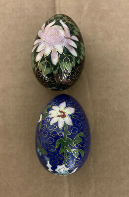 Lot Of 2 Vintage Cloisonne Eggs (1) Cobalt Blue Egg And (1) Black -free Shipping