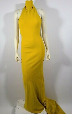 OSCAR DE LA RENTA Yellow Silk Turtleneck Long Formal Gown