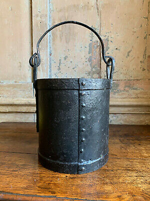 Wrought iron 18th Century Georgian bucket for moving hot cannon balls