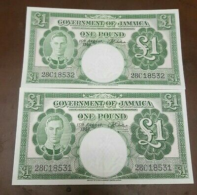 2 CONSECUTIVE 1958 JAMAICA GOVERNMENT 1 POUND Notes**** UNCIRCULATED