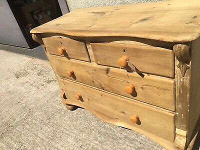 Antique Stripped Pine Chest Of Drawers