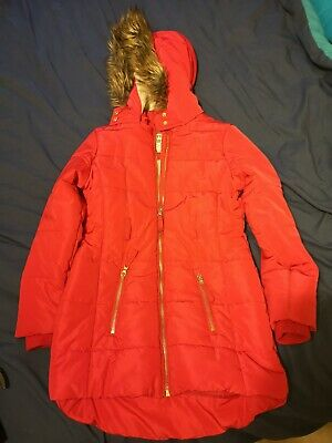 Girls Marks And Spencer Hooded Winter Zip Fastening Padded Red Coat Age 9/10