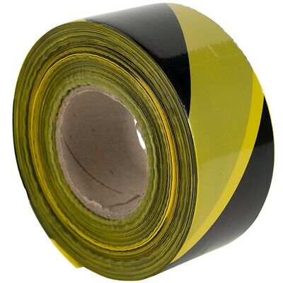 1 Roll 500 Metres Black&Yellow Non Adhesive Barrier Hazard Warning Utility Tape
