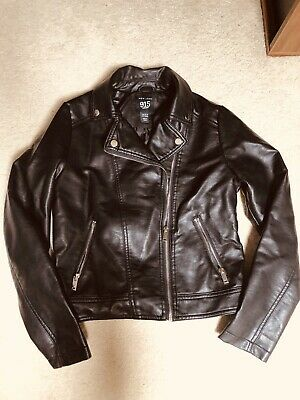 Girls Faux Leather Biker Jacket By New Look 915 Gen Age 12/13 Years New No Tag