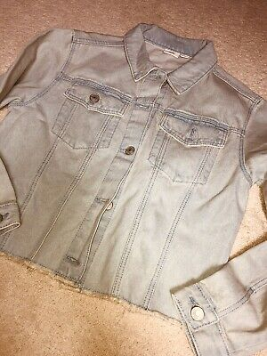 Girls River Island Light Blue Raw Hem Denim Jacket Over Sized Boxy Age 11/12yrs