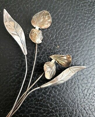 Stems of Flowers, delicate and elegant, they will never dry Italian 800 silver