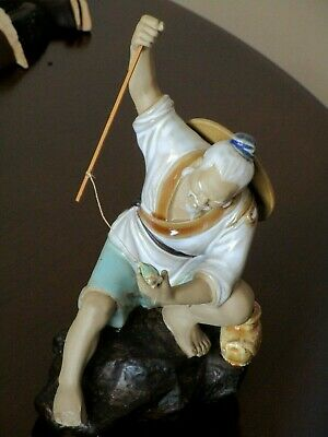 Vintage Ceramic Chinese Fishman Figurine Ornament Art Glazed Pottery Collectabl