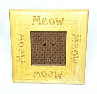 "Fetco Meow Wooden Etched Photo Picture Frame 6""x6"" Cat Kitten"