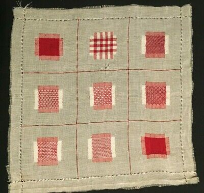 Vintage Red and White Sampler Embroidery Stitches 1930's Skilled Hand Very Fine