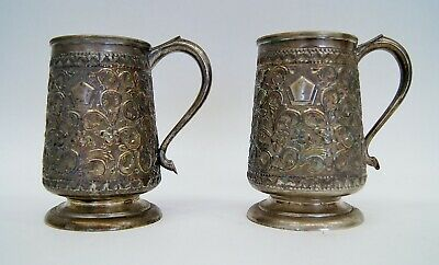 "Pair of Antique 19th Century German Silver Beer Steins 5 3/8"" B4803"