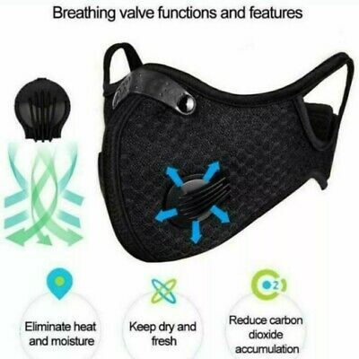 Cycling Face Mask Sport PM2.5 Anti-Pollution Running Carbon Filter Washable