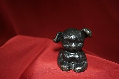 "Vintage HINES CAST IRON METAL DOG Figurine Paperweight 1 5/8"" T"