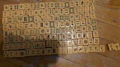 Mahjong Mah Jong Set Vintage 147 Tiles with bone(?) markers instructions Chinese