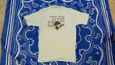 Rare Vintage 1990's Portuguese Water Dog Working in Water T-shirt Size X-Large