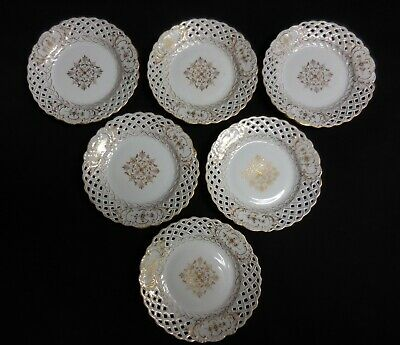 Richard Klemm Dresden 6 Reticulated Gold & White Plates With Medallion & Flowers