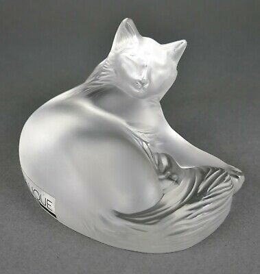Fine Vtg French Lalique Crystal Recumbent Tabby House Kitty Cat Sculpture Statue