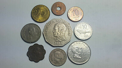 Mix Old Philippines Coin Lot - Vintage - 9 Excellent Coins - Lot #100