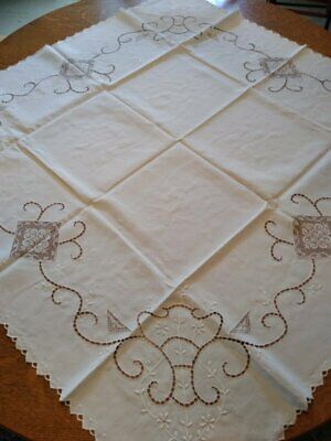 Beautiful Antique Linen Cloth W/Lace Inserts