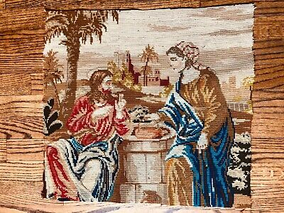 """Antique Needlepoint - """" Jesus at the Well"""" c1800's"""