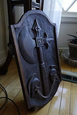 19C English Gothic Hand-Carved Oak Halberd/Axe Architectural/Decorative Plaque