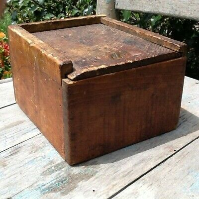 Early Primitive Wooden Candle Box Old Red Paint Coffin Top Slide Top Lid