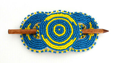 Native American Indian NLY Signed Beadwork Handmade Beaded Leather Pin Barrette