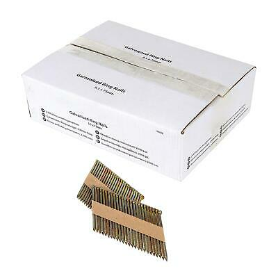 Galvanised Ring Nails 3.1 x 75mm Air Framing Nailer Gun Collated Outdoor 50PC