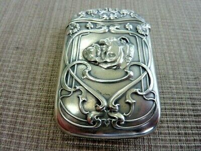 Sterling Match Safe/Vesta Art Nouveau Case wtih Bull Dog Face by Gorham (54022)