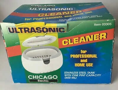 Chicago Electric Ultrasonic Jewelry Cleaner Steel Tank NEW With Cleaning Powder
