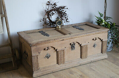 Antique 17th Century French Oak Coffer / Trunk with Original Ironwork