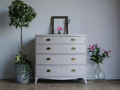 Antique George III Mahogany Bow-Fronted Chest of Drawers Painted Farrow & Ball