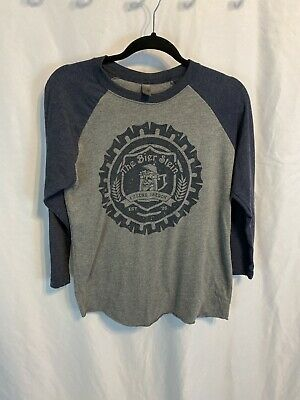 The Bier Stein Eugene, Oregon Beer Base Ball Style T-Shirt Gray/ Blue Small