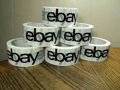 "2"" x 75 yards Black On White - Official eBay Branded Packaging Tape  6 Rolls"