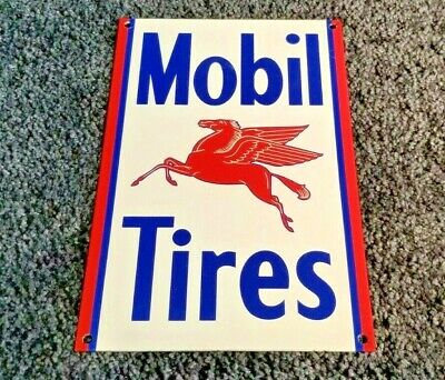 Vintage Mobil Mobilgas Tires Pegasus Porcelain Service Station Gasoline Oil Sign