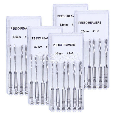 5 Packs Dental Peeso Reamers Engine Use Stainless Steel 32mm #1-#6 6pcs/Pack