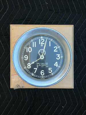 Vintage Chelsea Clock Co Boston U.s. Navy Nautical Deck Clock As Is