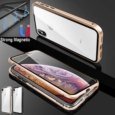 F iPhone SE XR 11 Pro XS Max X 7 8 Plus Metal Magnetic Case Tempered Glass Cover