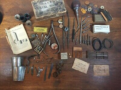 Lot Vintage Dental Belts Picks Clamps, Probes, Mirrors, S S White Swager Booklet