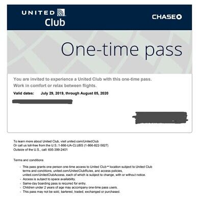 United Club One Time Pass EXP 8/05/2020 - Fast Email Delivery