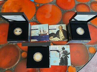 Captain Cook £2 Pound Silver Proof Coins Full Set 2018/2019/2020 Free U.K P&P