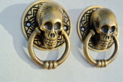 "2 small SKULL head handle DOOR PULL ring natural cast BRASS old style 5 cm 2"" B"