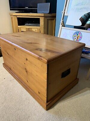 Victorian Pine Chest Blanket Box, Toy Box, Coffee Table