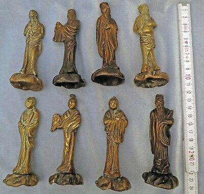 ***8 SCARCE  Antique OLD Chinese IMMORTALS Gilt Bronze Figures