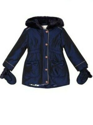 Ted Baker Girls Navy  Padded Coat / Jacket with Mittens. 2-3 Years. Designer