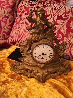 Rare Antique French Japy Freres Gilt Gilded Brass Vintage mantle mantel clock