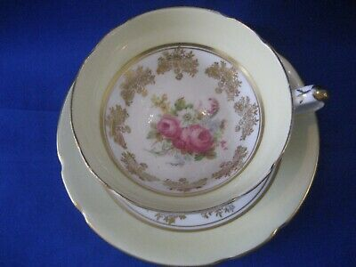 Stanley Fine Bone China  Cup and Saucer Yellow , Gold  Flowers Gold Rim